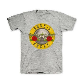 Guns N' Roses Classic Bullet Logo Licensed Adult Band T-Shirt - Grey - S