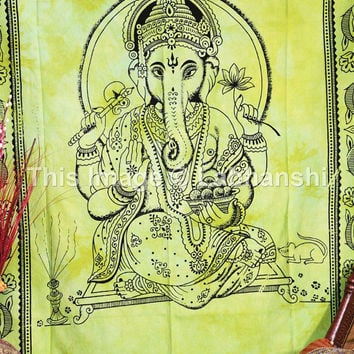Twin Indian Lord Ganesh Wall hanging, Indian Tapestry, Indian Wall Hanging, Hippy Hippie Tapestry, Ganesha Bedcover, Ganesh Wall Hanging