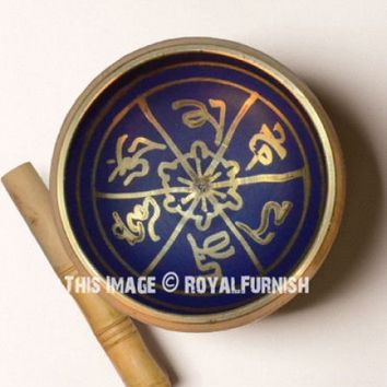 4 Inch Blue Hand Painted Metal Tibetan Buddhist Singing Bowl Set with Mallet  Cushion on RoyalFurnish.com