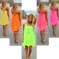 1pc Summer Sexy Women Beach Chiffon Sleeveless Party Dress Casual Mini SunDress