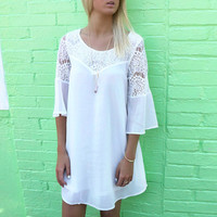 Lace Embroidered Bell Sleeve A-Line Mini Dress