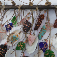 Beach Glass Sun Catcher-Unique Wind Chime-Beach Wedding Decor-Sea Shells-Vintage Pottery-Driftwood Mobile Seaglass Art
