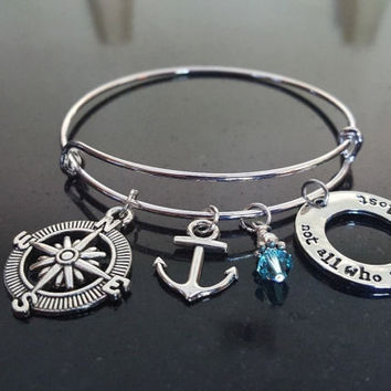 Not All Who Wander...Charm Bracelet, Personalize, Graduation Bracelet, Stainless Steel,  Nautical, Travel, Compass