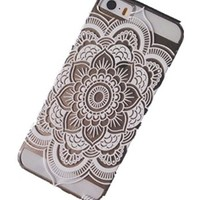 iPhone 5S Case, Wendy's StoresTM Clear Plastic Case Cover for Apple Iphone 5 5S 5G (Henna Full Mandala Floral Dream Catcher)