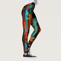 Warm Colorful Geometric Abstract Pattern Leggings
