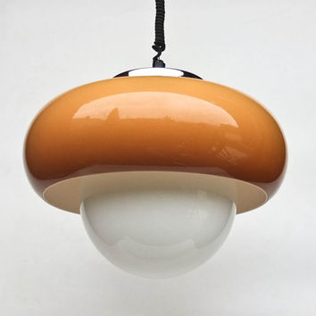 Vintage Space Age Ceiling Lamp / Pendant Lamp / 70's Retro Home Decor / Meblo Guzzini / Brown