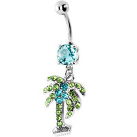 Aquamarine CUBIC ZIRCONIA Paved PALM TREE Dangle Belly Ring | Body Candy Body Jewelry