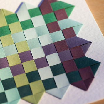 Paper weaving art card, greeting card, blank card, handmade card, 1st wedding anniversary, cards for him, paper anniversary,