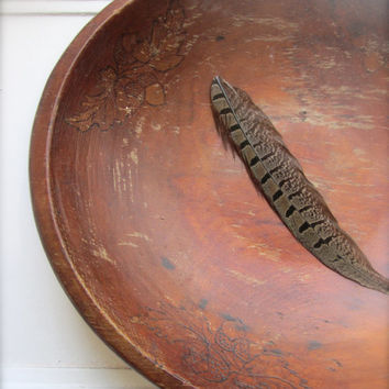 Antique Wooden Bowl Dough Bowl vintage wood bowl Home decor Housewares acorn wood burned