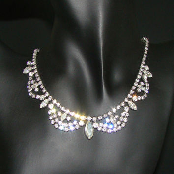 Vintage Continental Marquis & Chaton Rhinestone Necklace