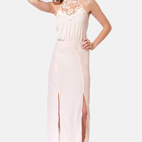 Fest Behavior Lace Cream Maxi Dress