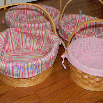 Personalized Easter basket  Wicker Easter basket with pink stripe or gingham fabric