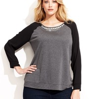INC International Concepts Plus Size Long-Sleeve Rhinestone Top