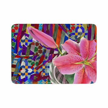 "S Seema Z ""Lily Explosion"" Pink Mulitcolor Memory Foam Bath Mat"