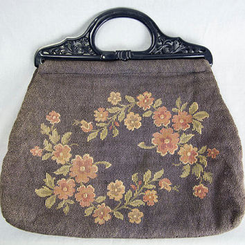 Vintage 60s Bohemian Dusty Blue Floral Tapestry Bag