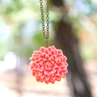 Large Pink-Melon Chrysanthemum Vintage Style Necklace - Melon | Luulla