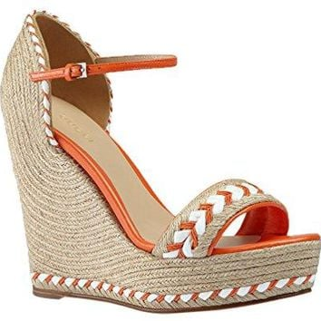 Gucci Women's Neon Orange Leather Cord Wedge Platform Sandal Shoes