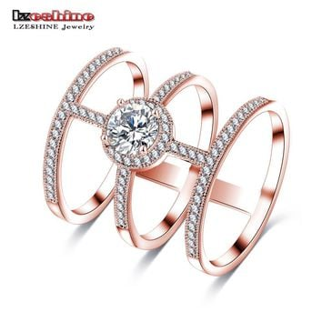 LZESHINE Newest Design Big AAA Round CZ Stone Micro Inlayed Tri-band Unique Cross Rings For Women Party Jewelry CRI0334-B