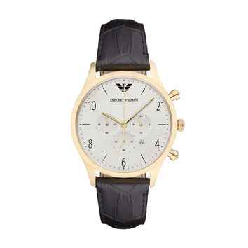 ARMANI WATCH BLACK & GOLD MEN DRESS LEATHER BETA STAINLESS STEEL AR1892