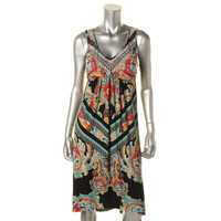 Style & Co. Womens Petites V-Neck Embellished Tank Dress