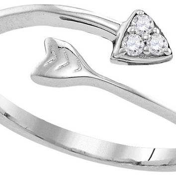 Sterling Silver Womens Round Diamond Bisected Arrow Band Ring 1/20 Cttw 110762