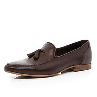 River Island MensDark brown leather tassel loafers