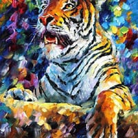 """Tiger  —  Oil Painting On Canvas By Leonid Afremov - Size: 24""""x30"""""""