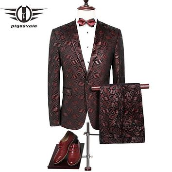 Men Slim Fit Wine Red Men Sequin Suits Wedding Suit For Men Elegant Burgundy Tuxedo Jacket Prom Wear