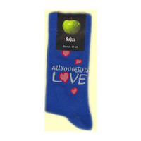 Beatles Men's  All You Need Is Love (Blue) Socks Blue