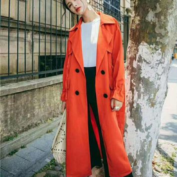 Fashion Woman Trench Coat Autumn Fashion Long Outerwear G-QWZDJ-YJDJPD