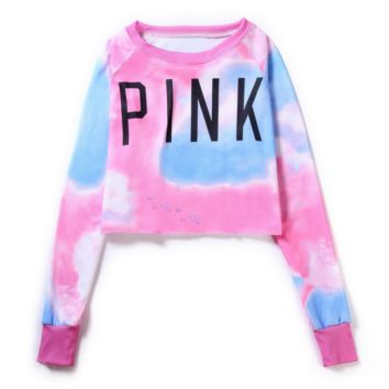 "Sexy fashion ""pink "" letters print short crop top long sleeve women sweater"