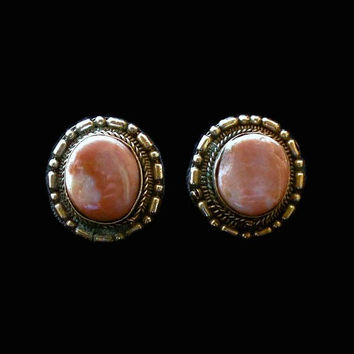 Silver Oval Pink Apricot Agate Clip On Earrings, Southwestern Jewelry
