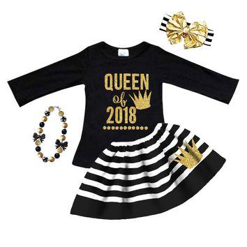 Queen Of 2018 Outfit Gold Crown Stripe Top And Skirt