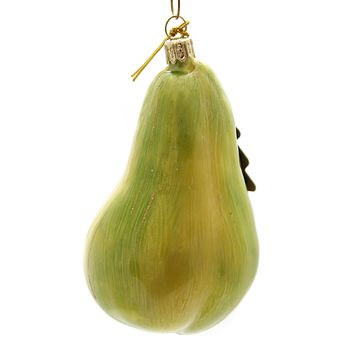 Holiday Ornaments GREEN PEAR Glass Poland Hand Painted 100R