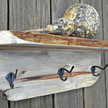 """Wood Coat Rack -Shelf, Rustic Wall Shelf Rack, Mid-Size, made from Upcycled Pallet Wood,17"""" long, One of a kind."""
