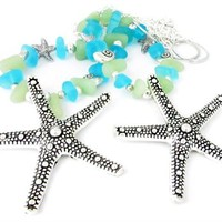 Sea Glass Curtain Tiebacks, Shabby Chic Tiebacks, Starfish Tiebacks, Beach Decor