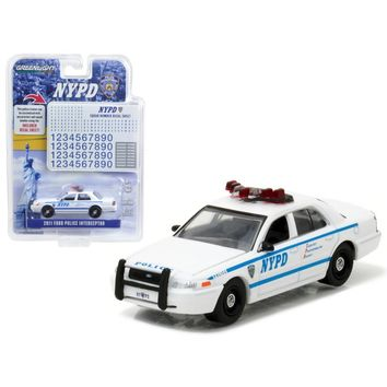 2011 Ford Crown Victoria Police New York Police Department (NYPD) with NYPD Squad Number Decal Sheet Hobby Exclusive 1-64 Diecast Model Car by Greenlight