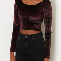CHECK VELVET CROP TOP