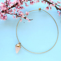 Crystal Metal gold ring necklace, crystal charm necklace, crystal jewelry, brass crystal choker, choker necklace, gold plated, rose quartz