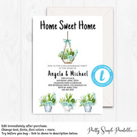 New Home Invite, Edit with Templett, Instant Download, Housewarming Invitation, New House Invitation, House Warming, Digital, Plants, HSW2