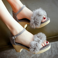 2016 Summer Fashion Wedges Sandals Sexy Rabbit Fur Cover Heels Women Shoes Casual Feathers Thick High Heeled Female Sandals