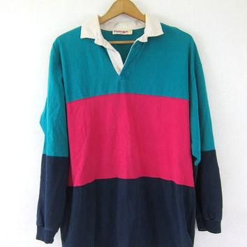 Rugby Polo tee Shirt. 90s collar neck Stripe Boyfriend Henley Top Green Blue Pink Over