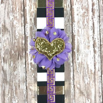 Purple and Metallic Gold Egyptian Planner Band with Puffy Gold Glitter Heart on Purple & Gold Flower