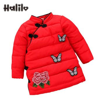 Halilo Newborn Baby Girl Dresses Thick Warm Winter Kids Dresses For Girls 1 Year Birthday Chinese Style Baby Girl Clothes 2017