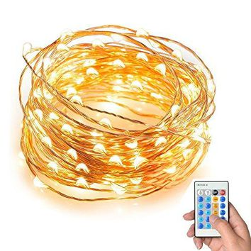 String Lights, Keepfit Dimmable 100 LEDs String Lights, 33ft Copper Wire Light,Waterproof Rope Lights,Remote Control ,Warm White,UL Certified for Patio, Christmas, Decorative Firefly Lights