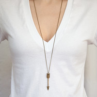 Large Arrow Necklace on Antique Bronze Chain - Woodland Necklace - Layering Chain with extra long necklace option