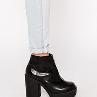 River Island Chunky Zip Front Ankle Boots