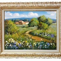 ITALIAN PAINTING COUNTRY PATH WITH FLOWERS TUSCANY CHARM ORIGINAL of A.PACI