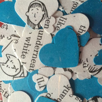 Story Book Confetti BLUE Recycled Party Decor Paper Birthday Table Decorations