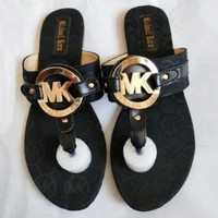 Michael Kors MK Classic Fashionable Women Casual Sandal Slippers Shoes Black